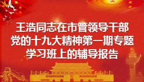王浩同志在市管领导干部党的十九大精神第一期专题学习班上的辅导报告